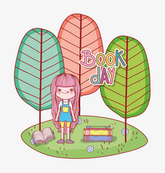 girl read books to learn with trees vector image