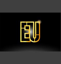 Gold black alphabet letter eu e u logo vector