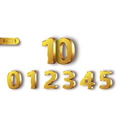 Golden metal numbers realistic vector