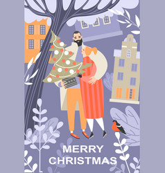 greeting christmas card with a cute couple vector image