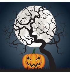 Halloween pumpkin and tree at night vector