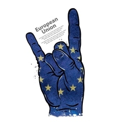 Hand gesture cool rock and roll flag of European vector