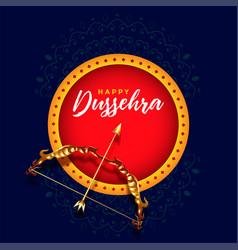 Happy dussehra festival card design with dhanush vector