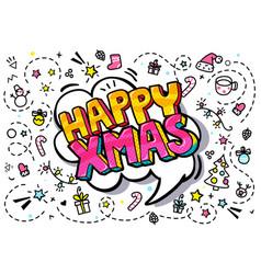 Happy xmas message in pop art style vector