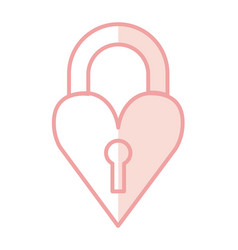 heart love with key hole romantic icon vector image