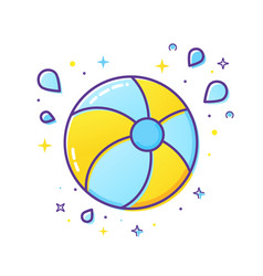 Inflatable ball and splash icon isolated vector