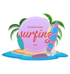 International surfing day font banner vector