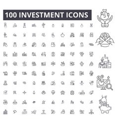 investment editable line icons 100 set vector image
