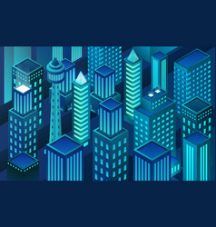 isometric virtual reality city block chain vector image