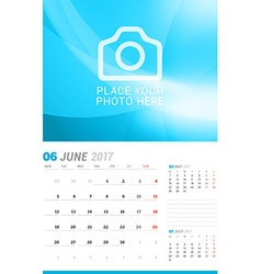 June 2017 Wall Monthly Calendar for 2017 Year vector