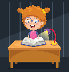 Kid studying at night vector