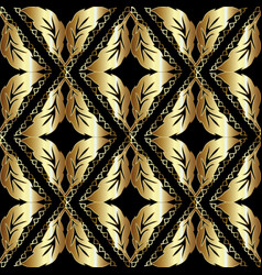 leafy gold baroque seamless pattern vector image