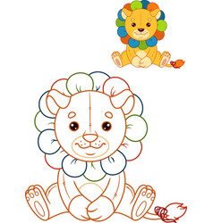 Lion toy coloring page vector