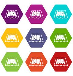 map icon set color hexahedron vector image