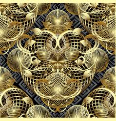 Modern 3d floral greek seamless pattern vector