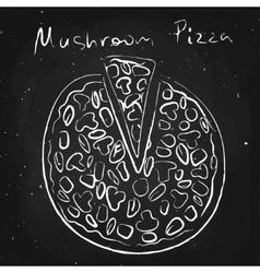 Mushroom pizza drawn in chalk on a blackboard vector image