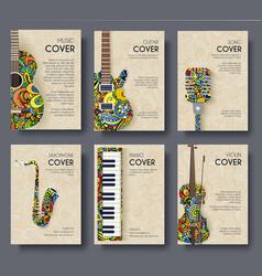 music magazine layout flyer invitation design set vector image