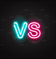 neon symbol versus battle outline glowing pink vector image