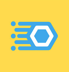 O letter icon on space ship plate vector
