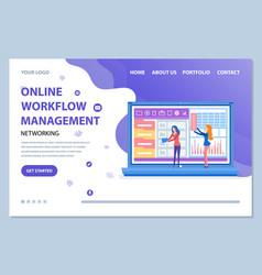 Online workflow management website info vector