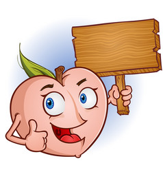 peach cartoon character holding a wooden sign vector image