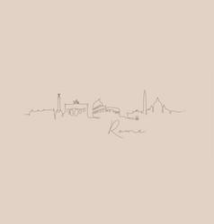 pen line silhouette rome beige vector image