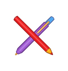 Pencil and pen icon in cartoon style vector image