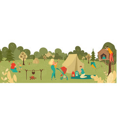 people relaxing in park with kids parents playing vector image