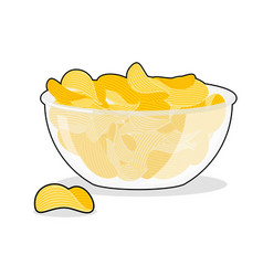 potato chips in bowl fried potatoes in deep vector image