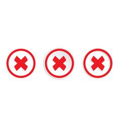 Red cross mark icon set vector