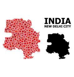 Red star pattern map new delhi city vector