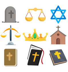 Religion clip art set with holy bible church vector