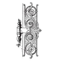 Renaissance hinge door hinge vintage engraving vector