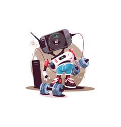 Robot fitness instructor vector
