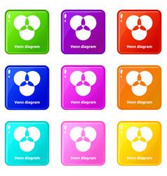 Round venn diagram icons set 9 color collection vector