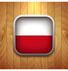 Rounded Square Polish Flag Icon on Wood Texture vector image