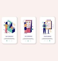 Self service mobile app onboarding screens vector