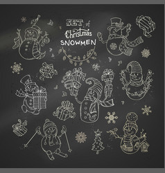 Set of christmas chalk snowmen on blackboard vector
