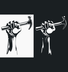 Silhouette hand holding hammer clipart drawing vector