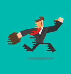 Simple flat cartoon of a businessman running vector