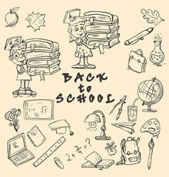 Sketch on school theme design of school subjects vector