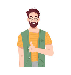 Smiling man showing thumbs up approval and like vector
