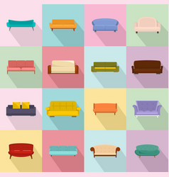 sofa chair room couch icons set flat style vector image