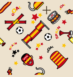 Spain soccer supporter gear seamless pattern vector