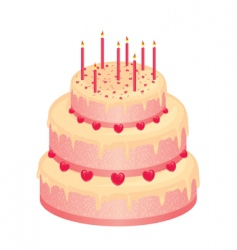 Sweet pink birthday cake vector