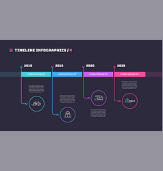 thin line timeline minimal infographic concept vector image