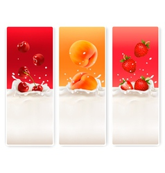 Three fruit and milk labels vector