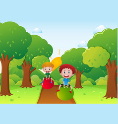 Two boys playing with ball on the road vector