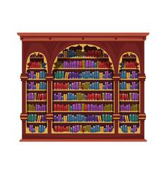 Vintage book cabinet composition vector