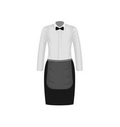 Waitress uniform white shirt with bow-tie and vector